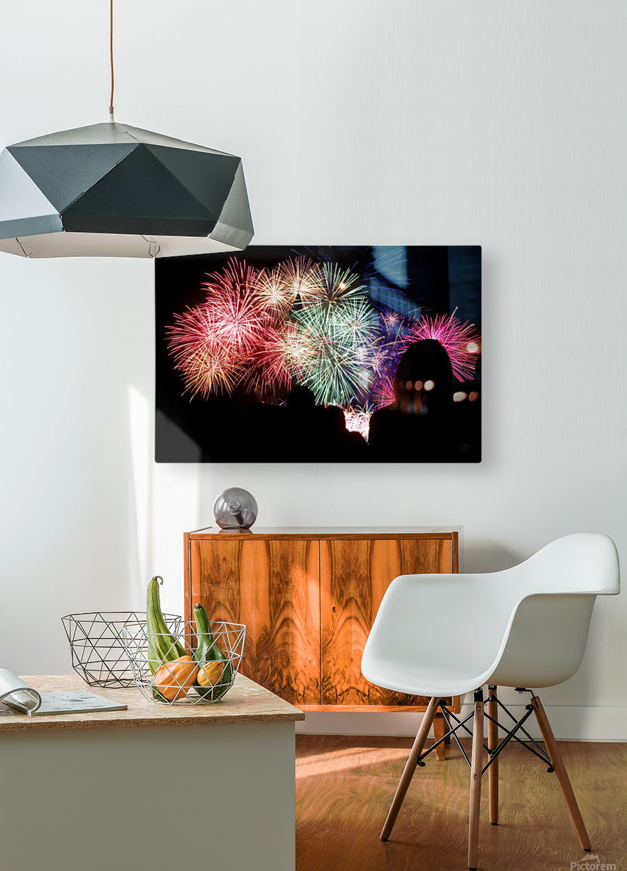 Fireworks  HD Metal print with Floating Frame on Back