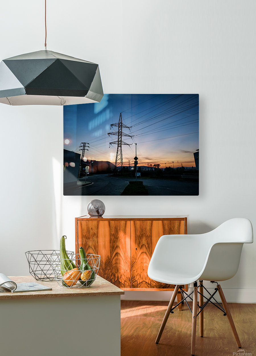 Industrial sunset  HD Metal print with Floating Frame on Back