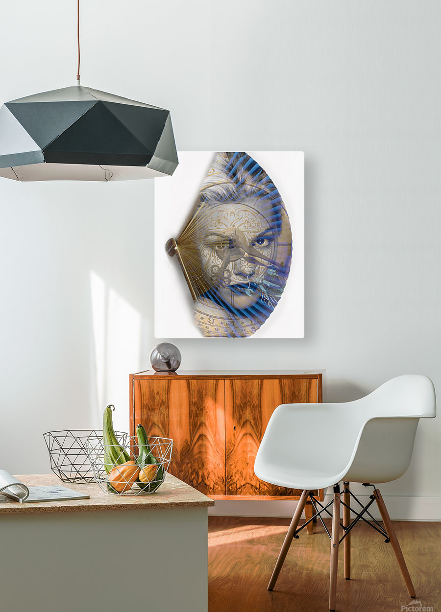 Face with clock and fan  HD Metal print with Floating Frame on Back