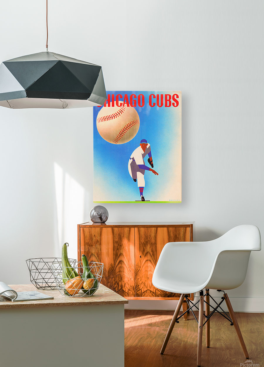Otis Shepard Remix_Public Domain Sports Art Remixes_Chicago Cubs Poster by Row One  HD Metal print with Floating Frame on Back