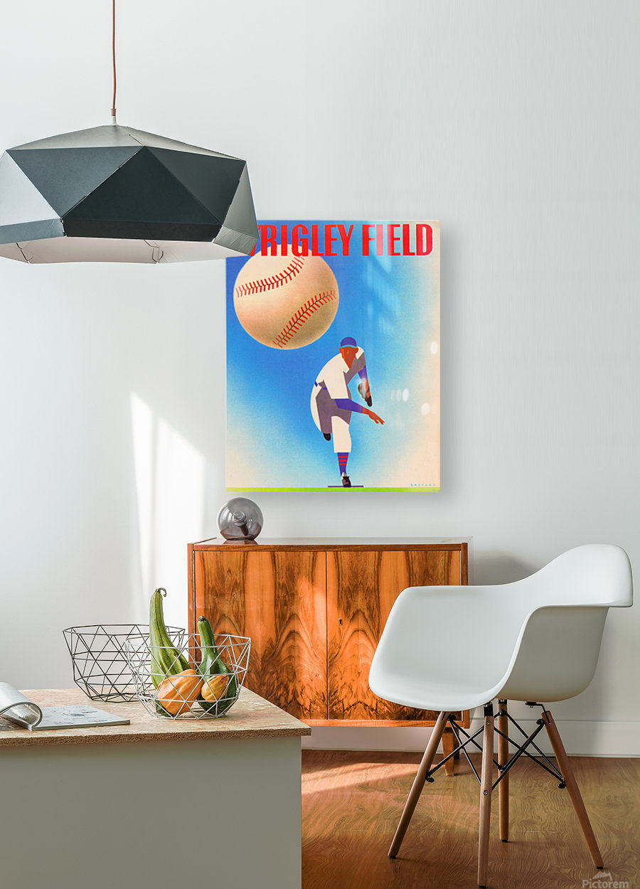 Row One Brand Wrigley Field Art Remixes_Public Domain Sports Art Remixes_Chicago Cubs Poster  HD Metal print with Floating Frame on Back