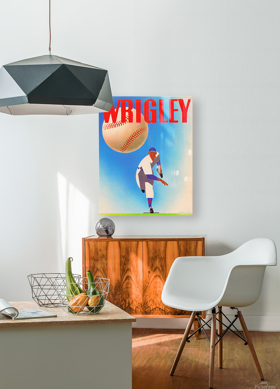 Row One Brand Sports Art Remixes_Public Domain Sports Art Remix_Chicago Cubs Wrigley Poster  HD Metal print with Floating Frame on Back