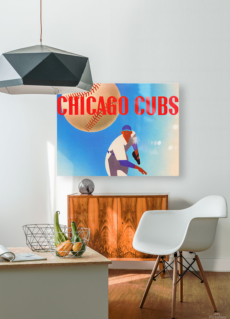 Sports Art Remixes_Public Domain Sports Art Creations_Chicago Cubs Poster (1950)  HD Metal print with Floating Frame on Back
