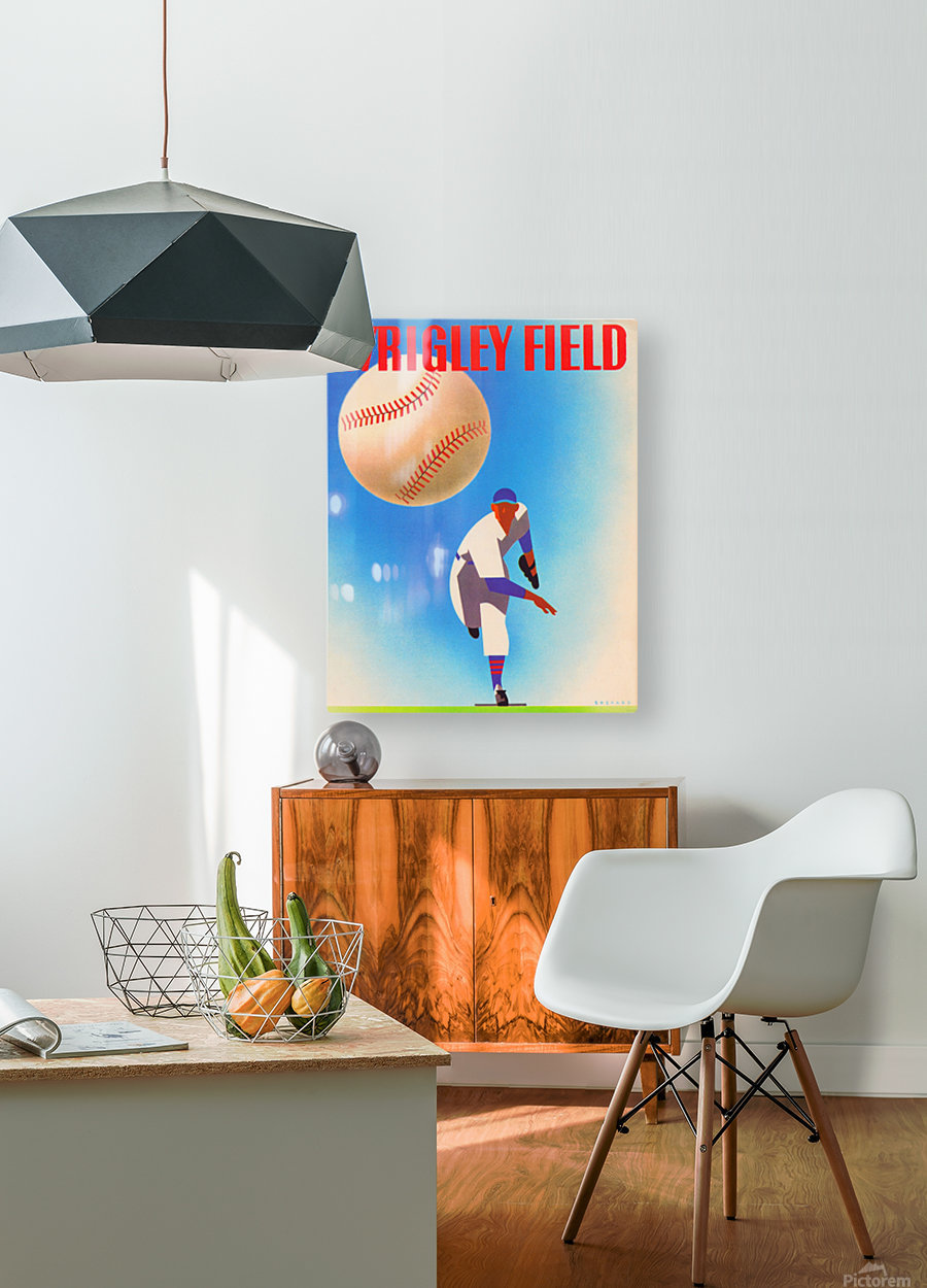RowOneBrandWrigleyFieldArtRemixes_PublicDomainSportsArtRemixes_ChicagoCubsPoster  HD Metal print with Floating Frame on Back