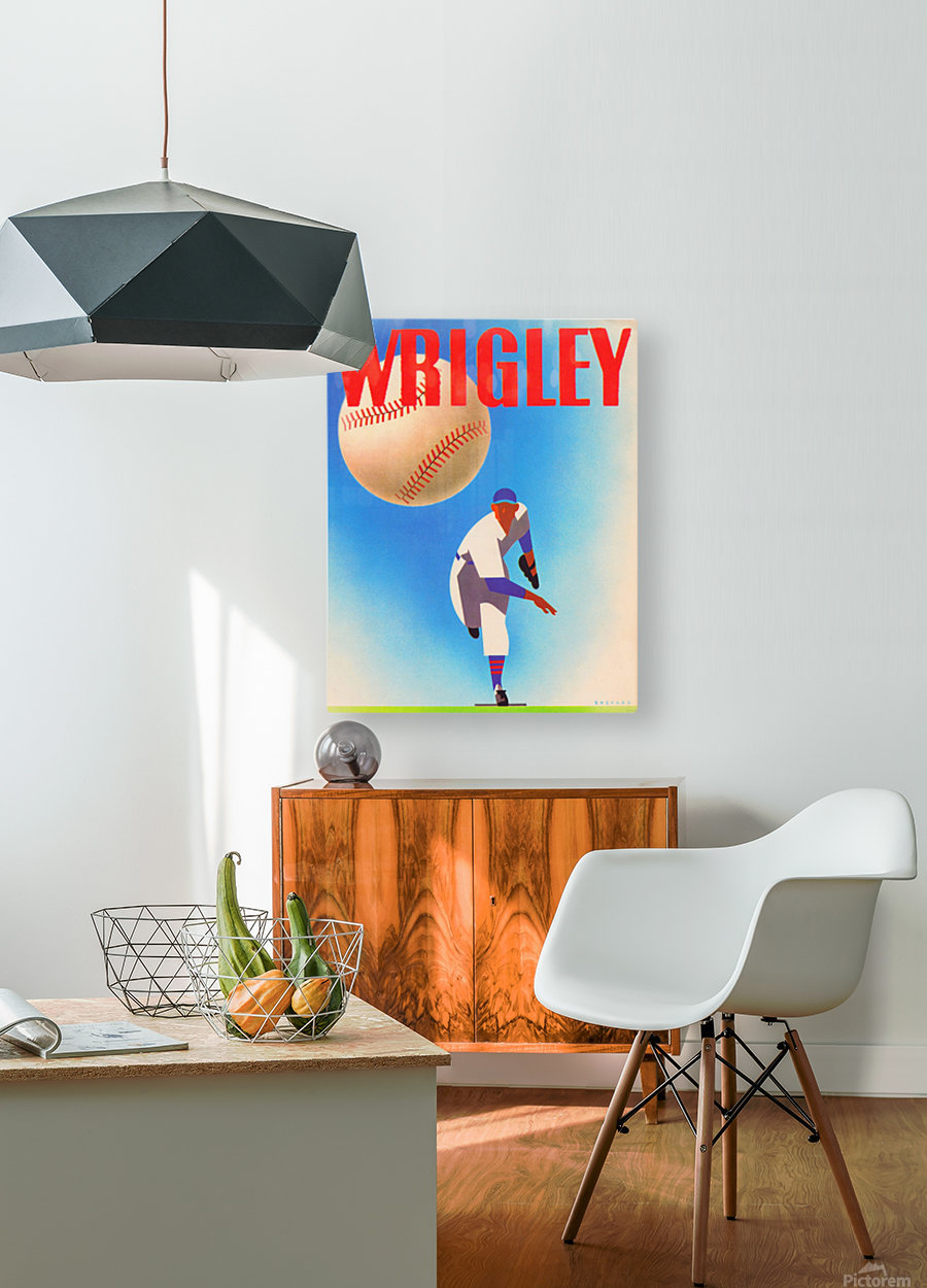 RowOneBrandSportsArtRemixes_PublicDomainSportsArtRemix_ChicagoCubsWrigleyPoster  HD Metal print with Floating Frame on Back