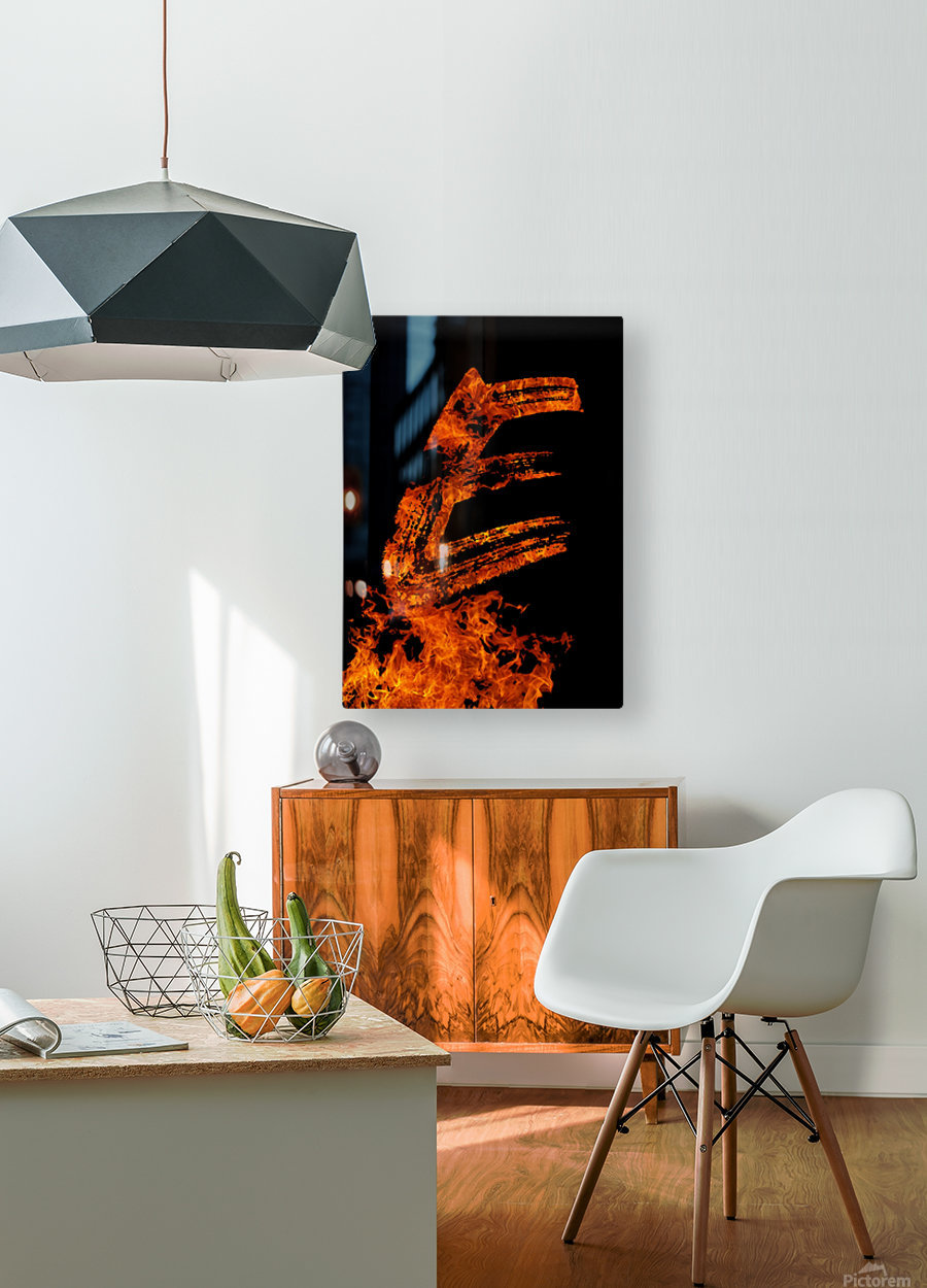 Burning on Fire Letter E  HD Metal print with Floating Frame on Back