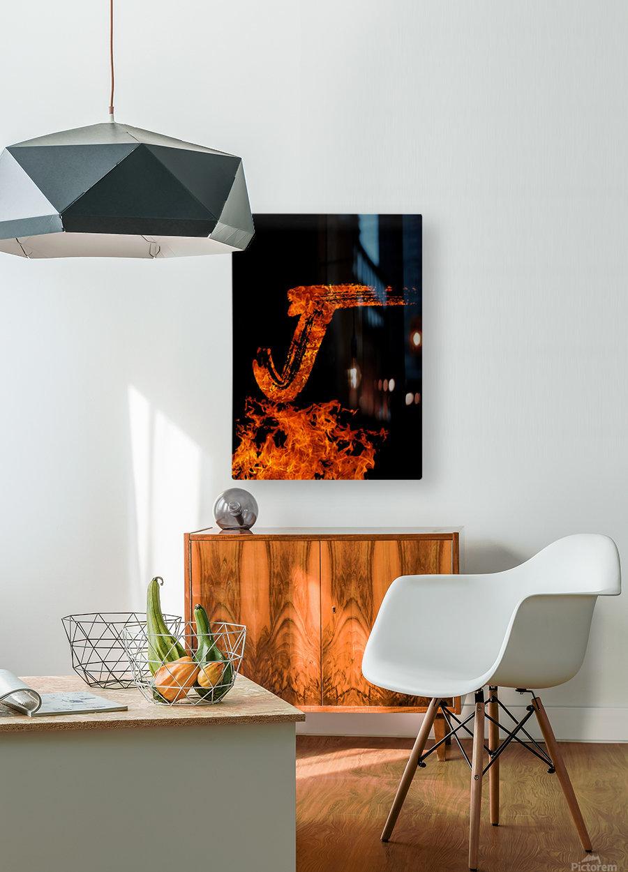 Burning on Fire Letter J  HD Metal print with Floating Frame on Back