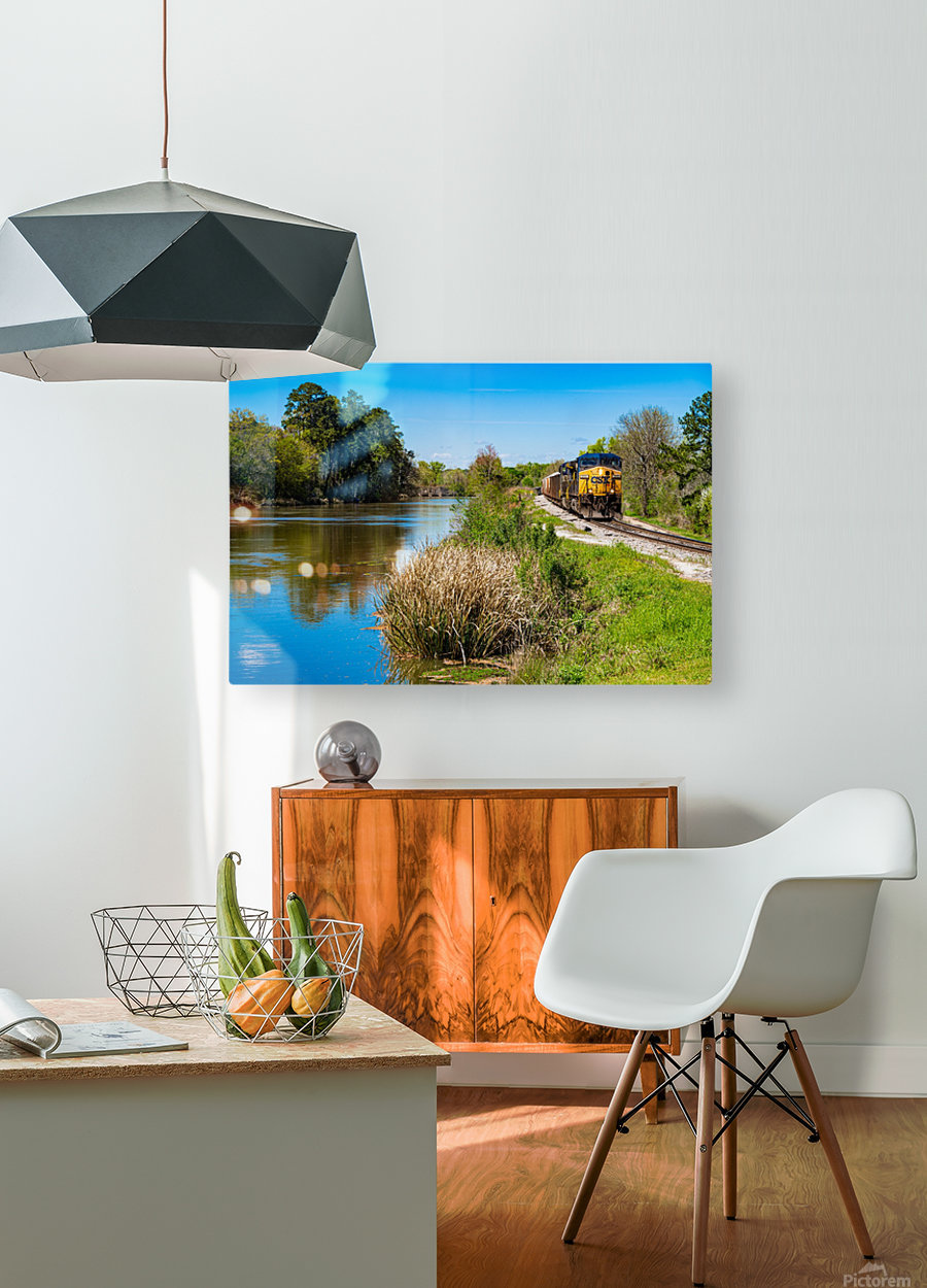 CSX Train along the Augusta Canal GA 02909  HD Metal print with Floating Frame on Back