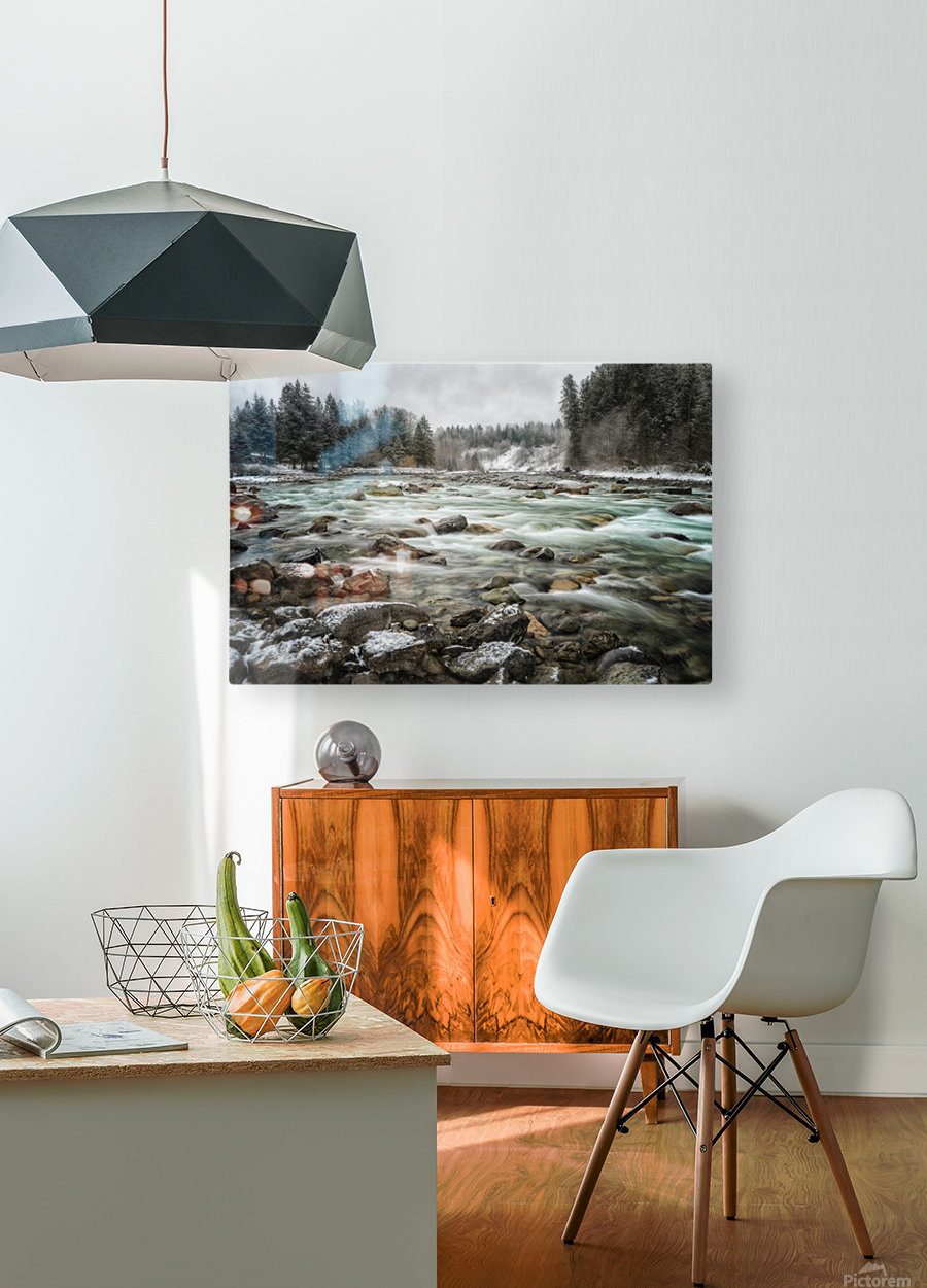 River in Winter  HD Metal print with Floating Frame on Back