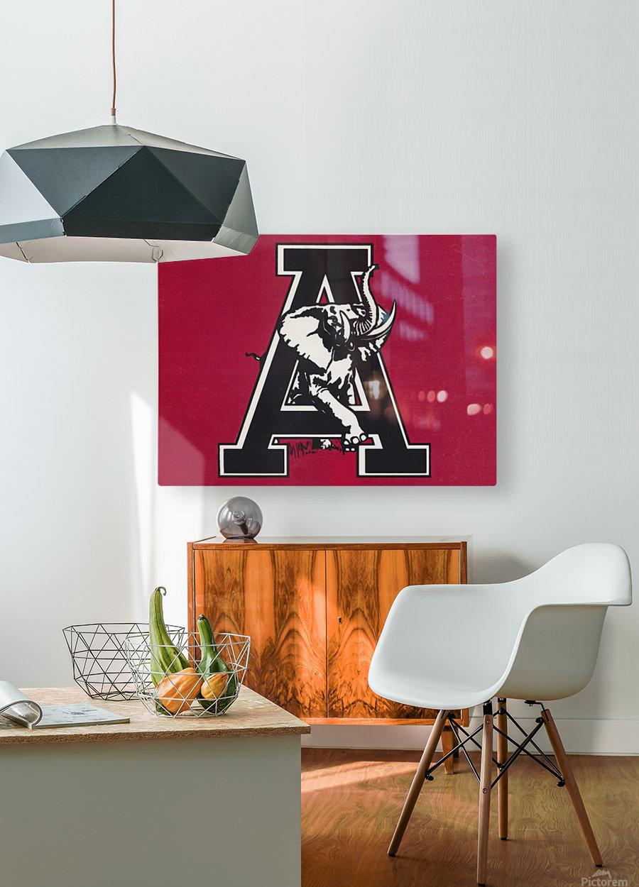vintage alabama a elephant artwork 1982 college poster  HD Metal print with Floating Frame on Back