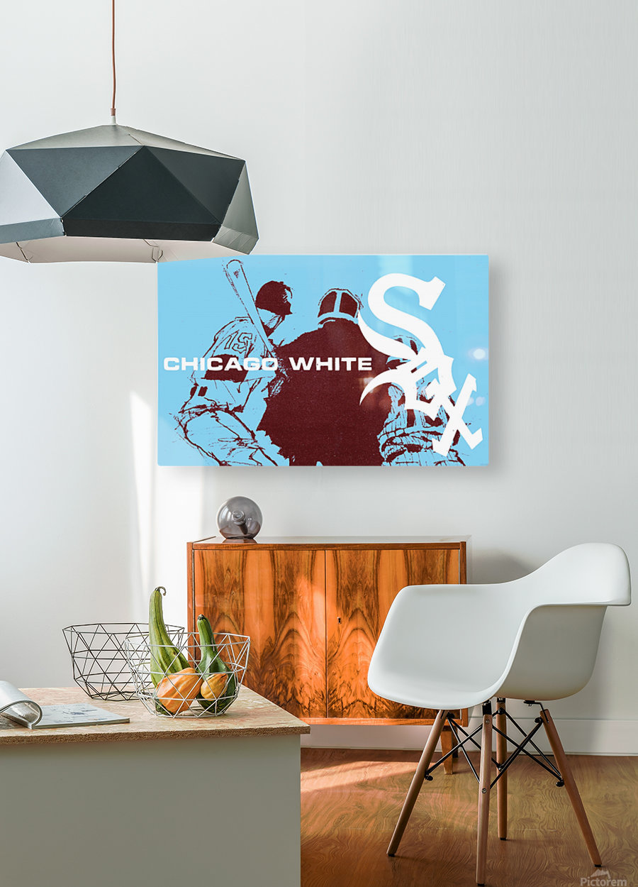 ChicagoWhiteSoxPoster_CheapBaseballPosters_UniqueChicagoGiftIdeas  HD Metal print with Floating Frame on Back