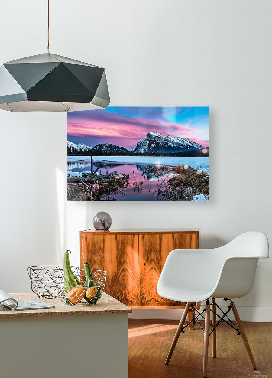 Rundle Mountain Sunset Banff National Park  HD Metal print with Floating Frame on Back