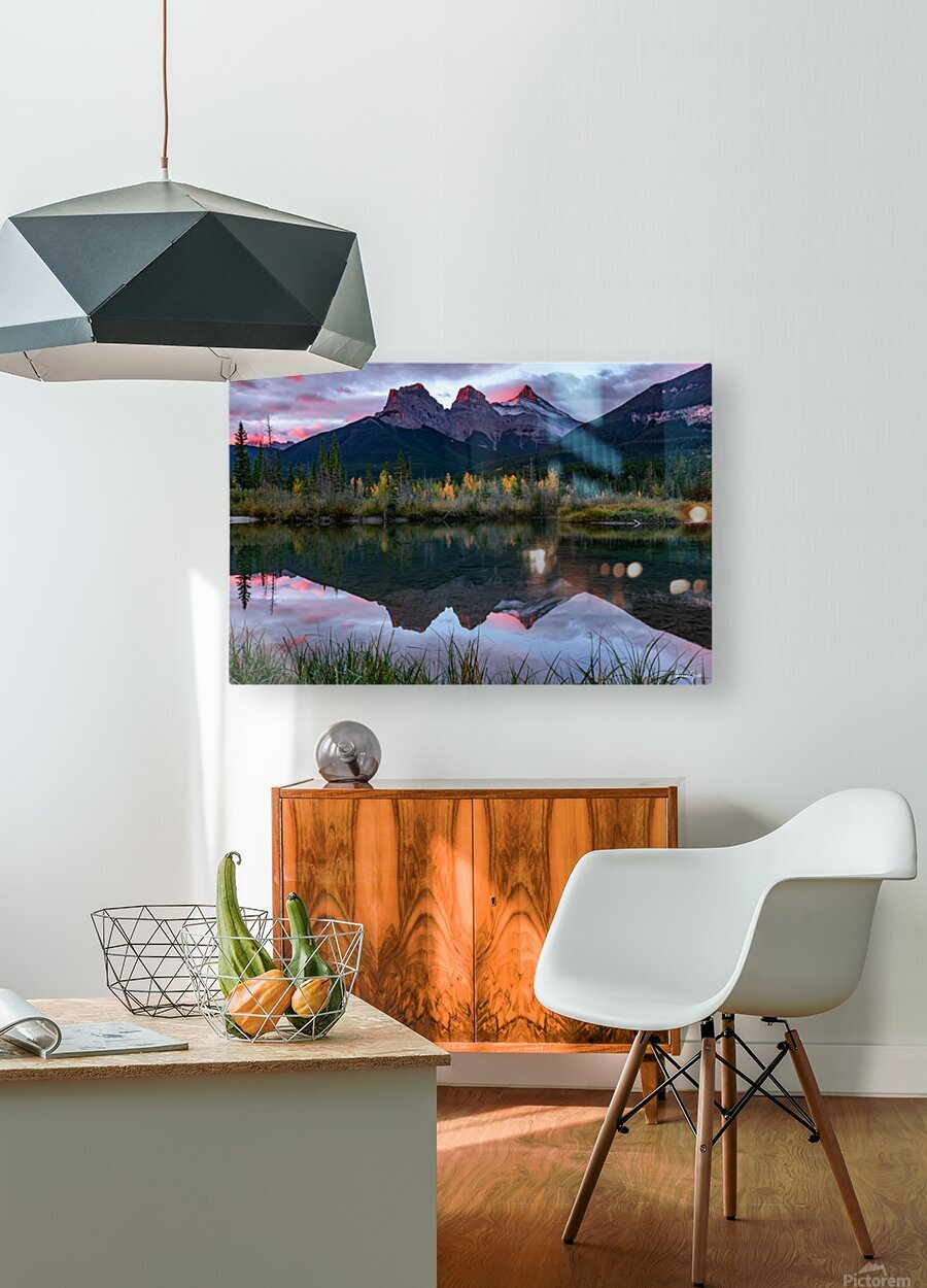 Three Sisters Fall Sunrise Canmore  HD Metal print with Floating Frame on Back