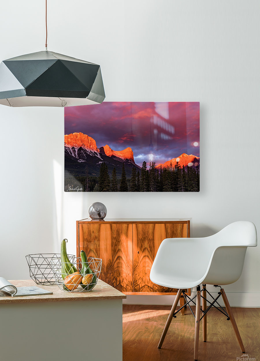 Ha Ling Mountain Range Sunrise  HD Metal print with Floating Frame on Back