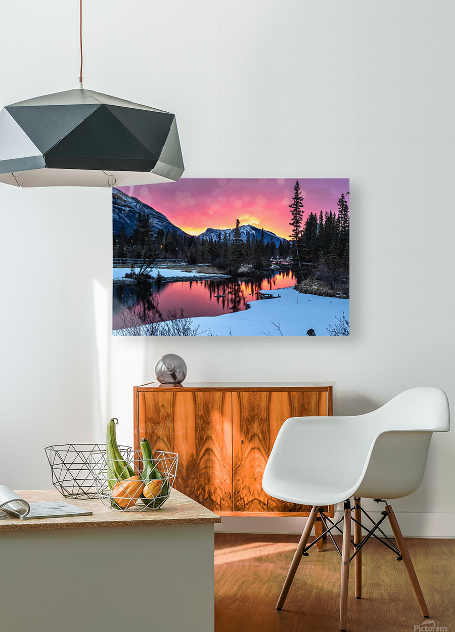 Sunrise At Policemans Creek Alberta  HD Metal print with Floating Frame on Back