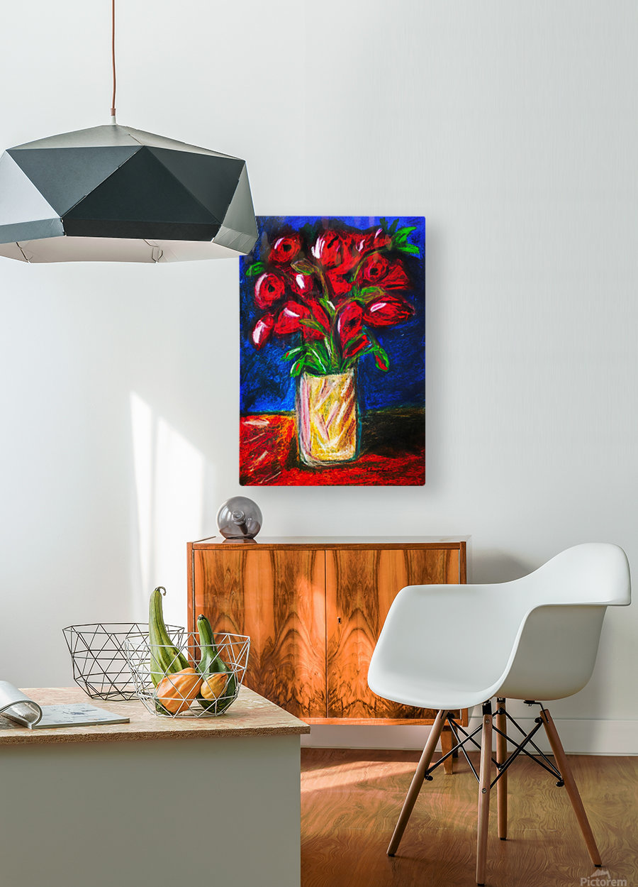 Red Cala Lilies  HD Metal print with Floating Frame on Back