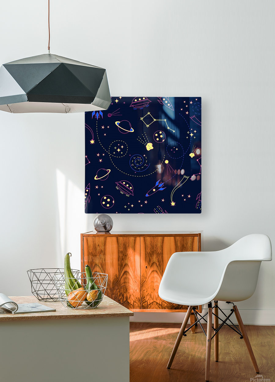 Cartoon space seamless pattern vectors  HD Metal print with Floating Frame on Back