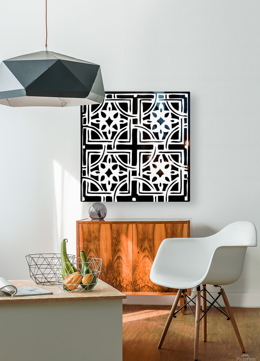 Blackandwhitegeometricgeometrypattern  HD Metal print with Floating Frame on Back