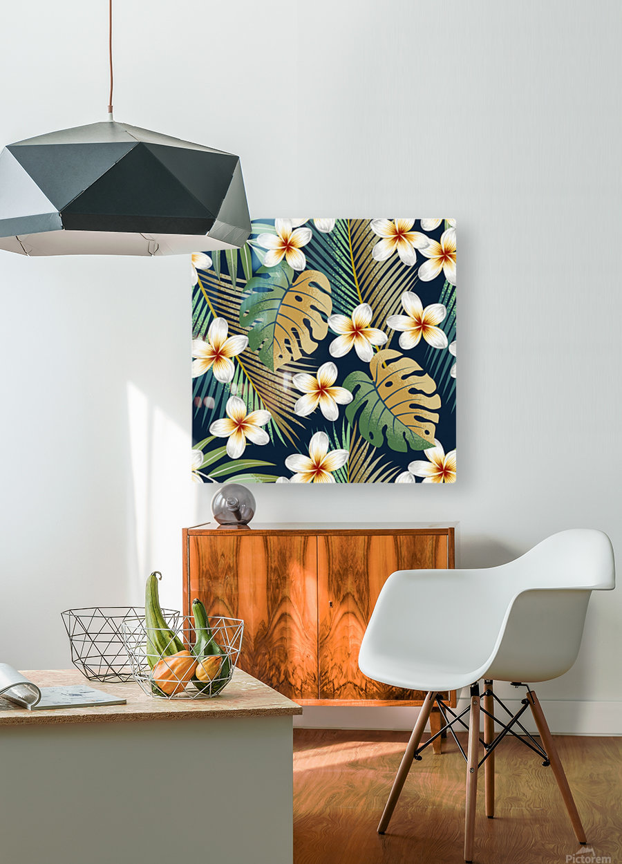 seamless pattern with tropical strelitzia flowers leaves exotic background_  HD Metal print with Floating Frame on Back