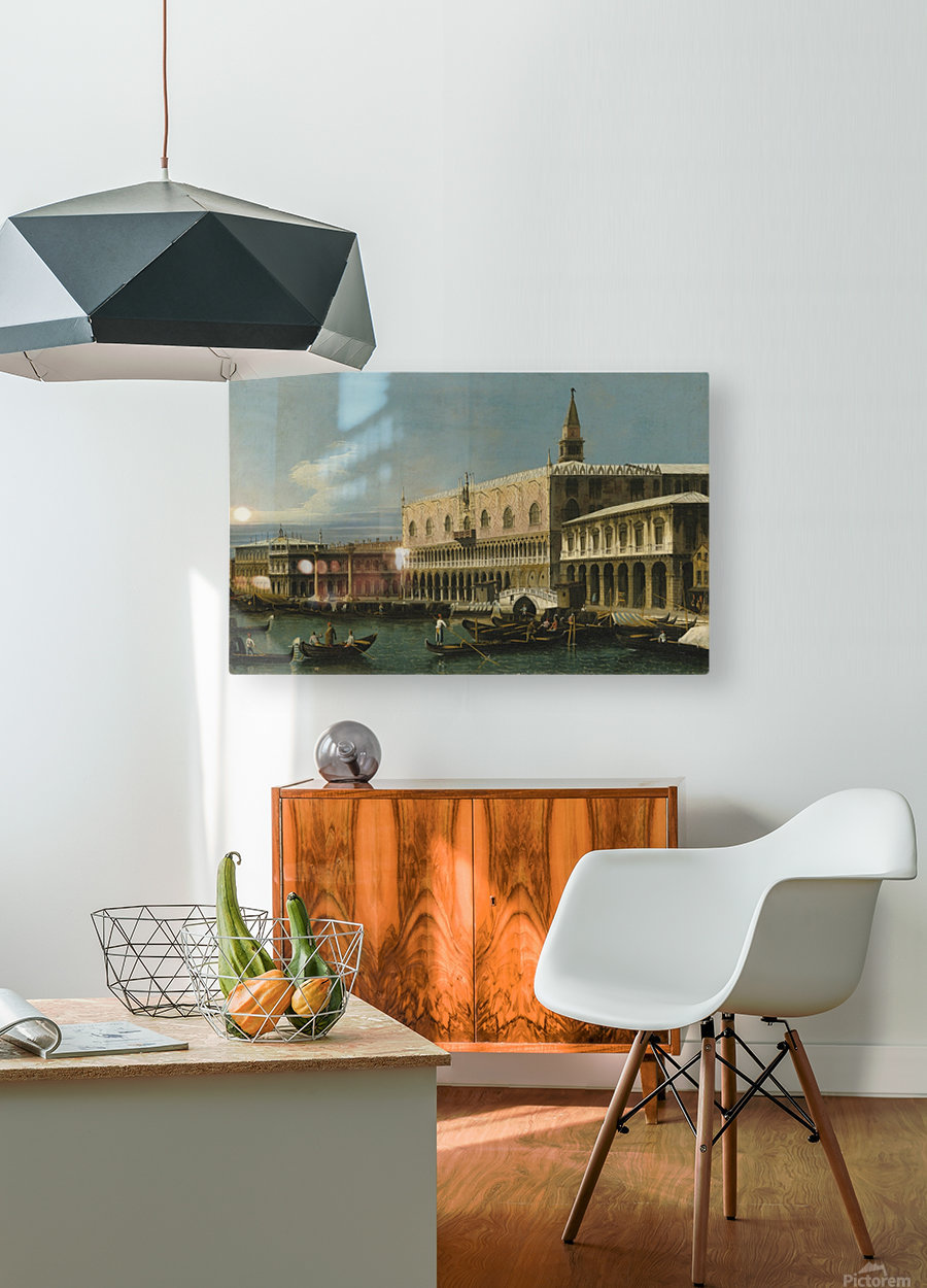 Venice, a view of the Molo, looking West, with the Palazzo Ducale and south side of the Piazzeta  HD Metal print with Floating Frame on Back