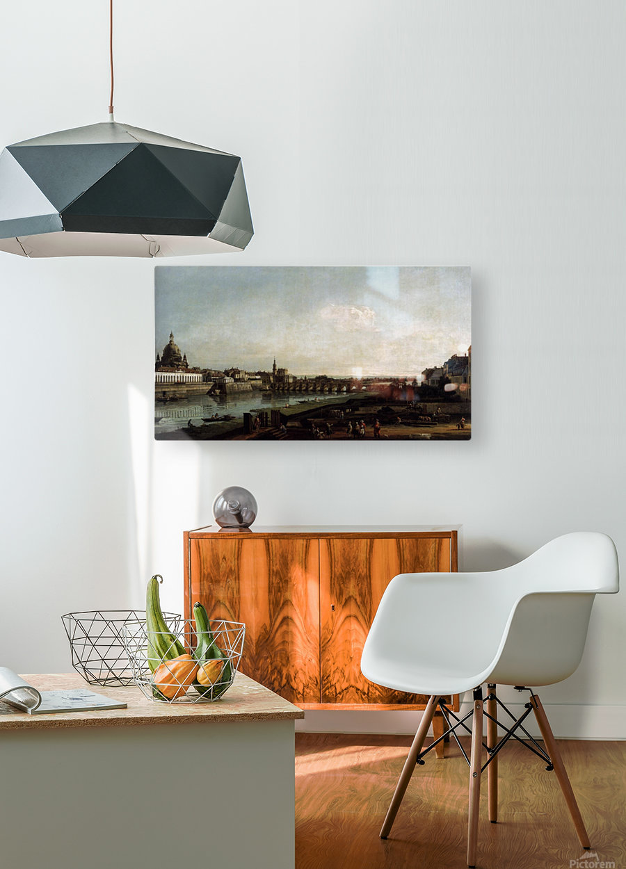 Dresden from the Right Bank of the Elbe, above the Augustusbrucke  HD Metal print with Floating Frame on Back