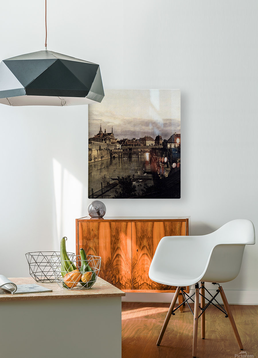 The Moat of the Zwinger in Dresden  HD Metal print with Floating Frame on Back