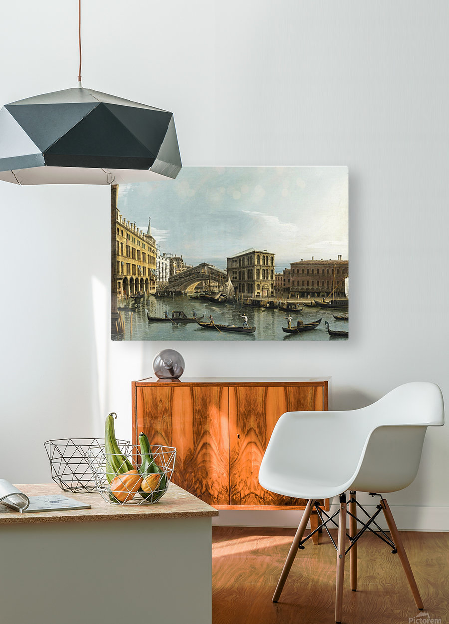 Venice. View of the Grand Canal with the Rialto Bridge, Seen from the North  HD Metal print with Floating Frame on Back