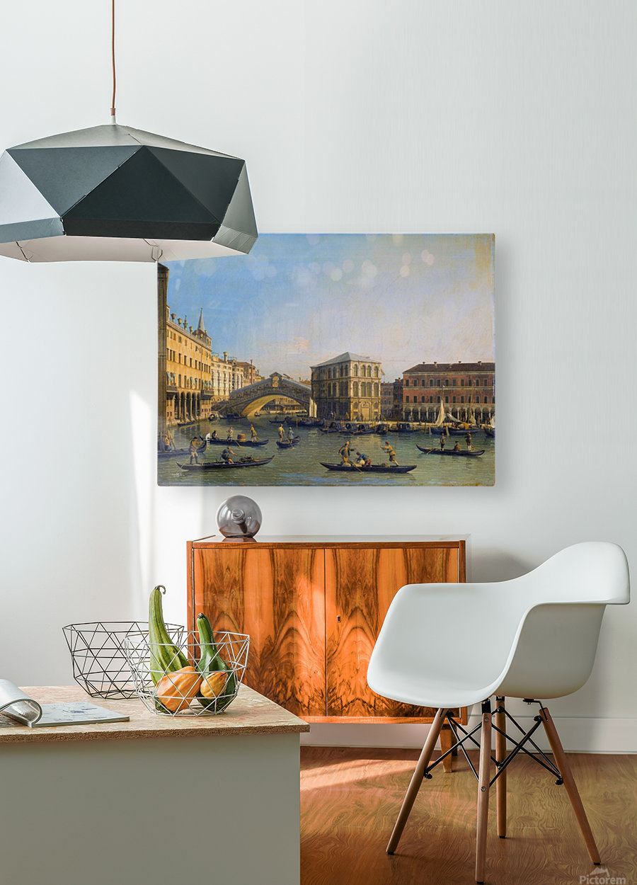 Rialto Bridge Canaletto  HD Metal print with Floating Frame on Back