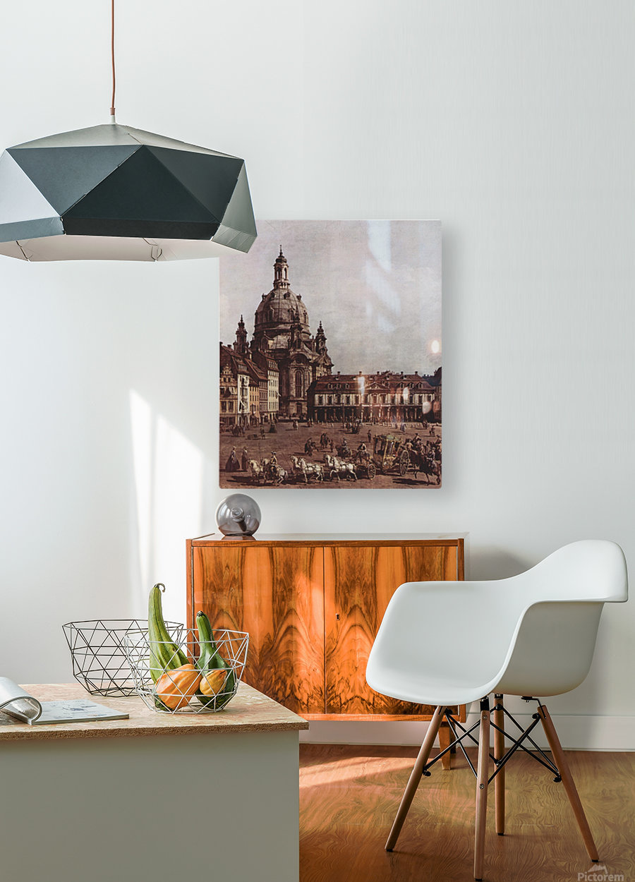 Der Neumarkt in Dresden  HD Metal print with Floating Frame on Back