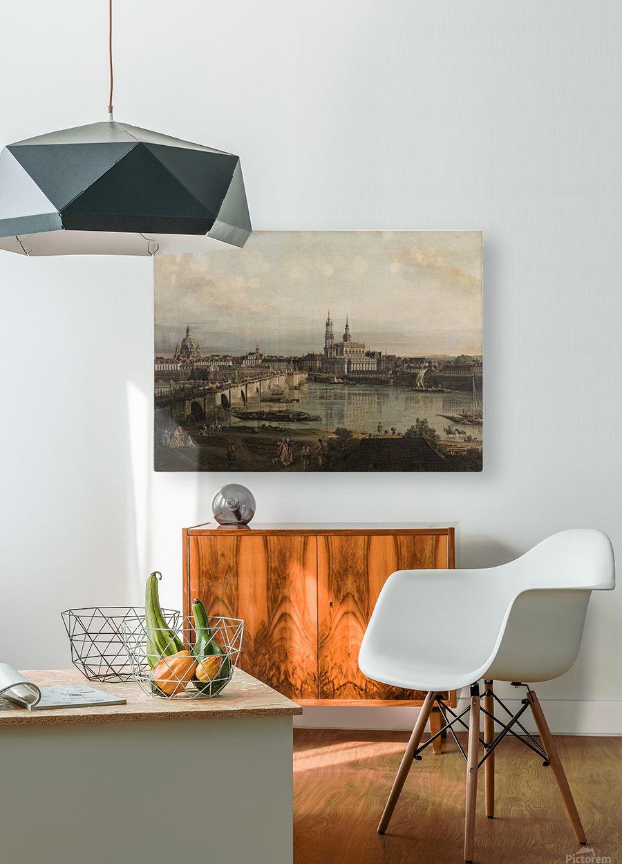 Dresden, die Altstadt Dresdens vom Neustadter Bruckenkopf  HD Metal print with Floating Frame on Back