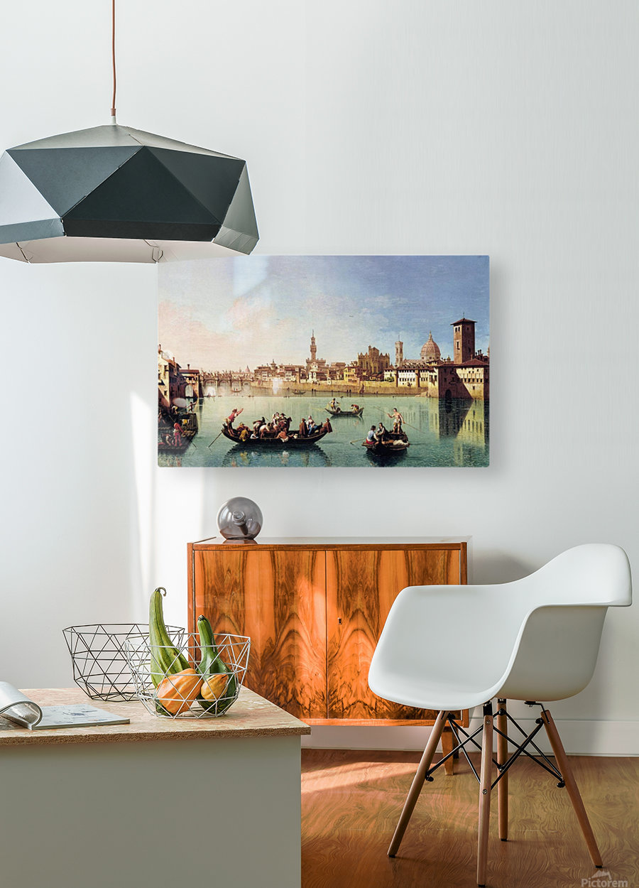 View af the Arno in Florence  HD Metal print with Floating Frame on Back