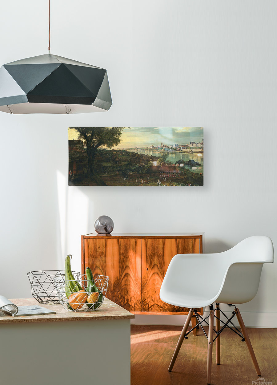View of Warsaw from Prague  HD Metal print with Floating Frame on Back