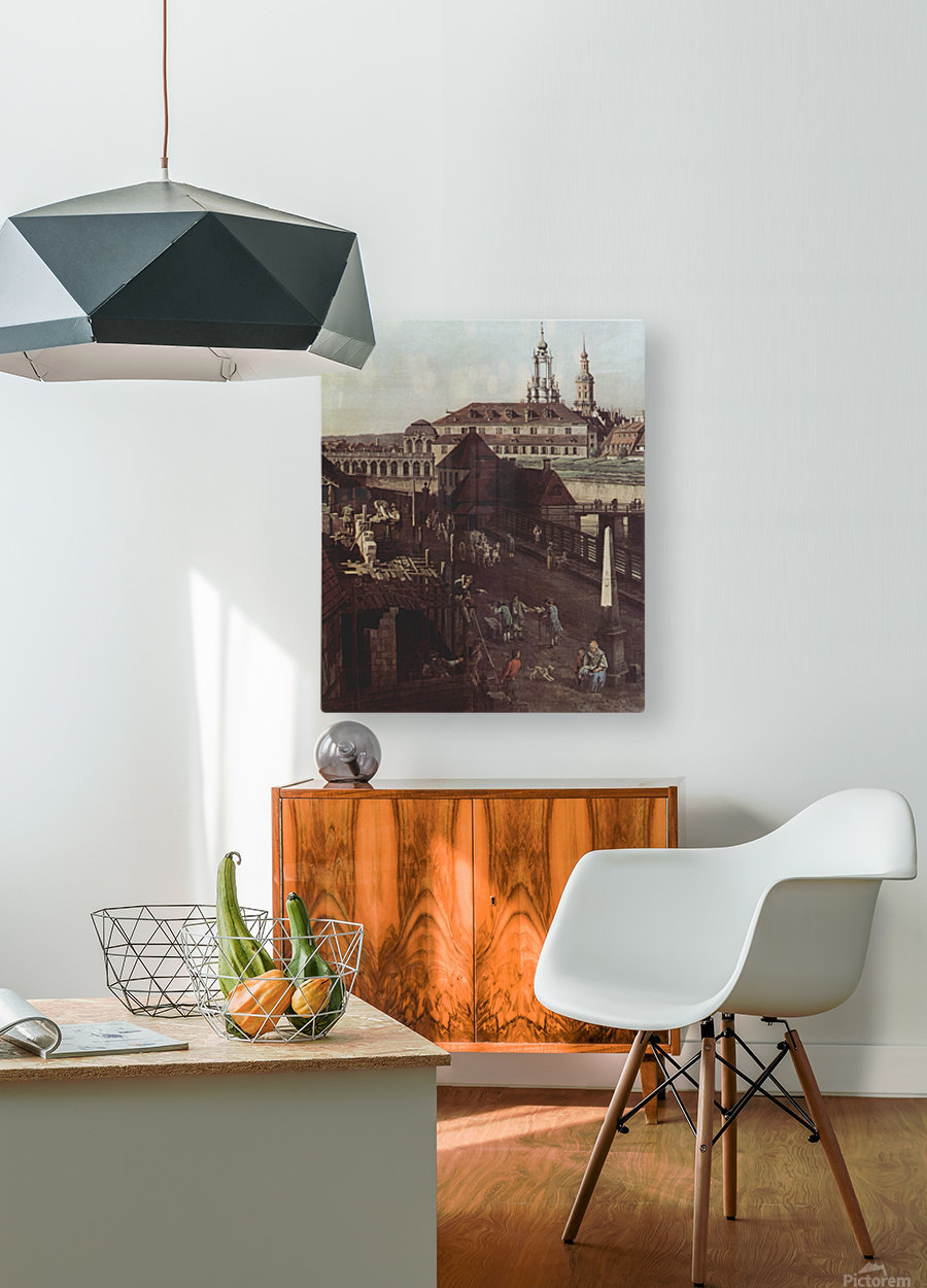 Errichtung der Saulen  HD Metal print with Floating Frame on Back