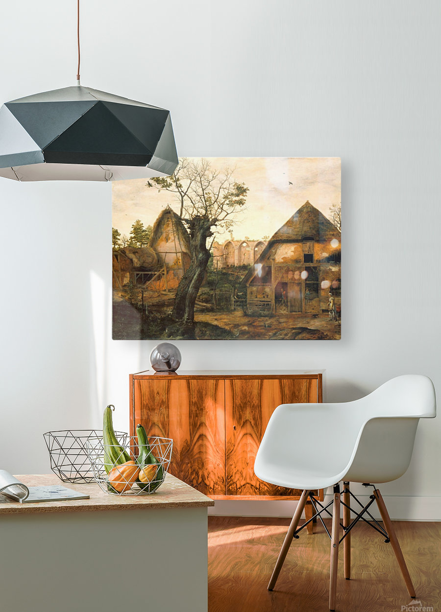 Landscape with Farmhouse  HD Metal print with Floating Frame on Back