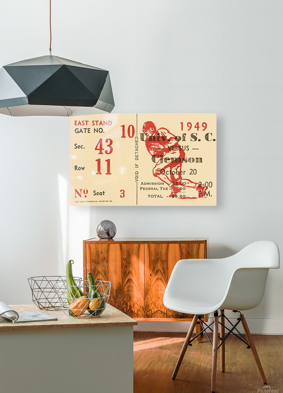 1949 south carolina gamecocks palmetto bowl ticket stub wall art metal sign wood prints  HD Metal print with Floating Frame on Back