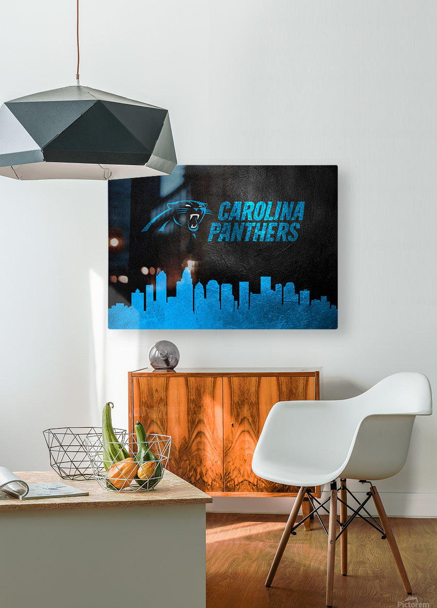 Carolina Panthers Skyline  HD Metal print with Floating Frame on Back