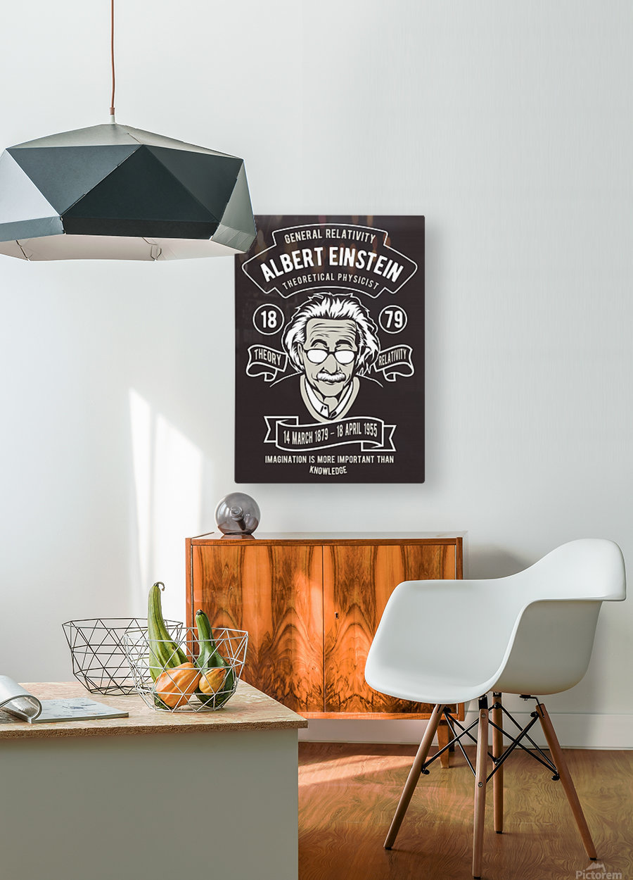 Albert einstein poster  HD Metal print with Floating Frame on Back