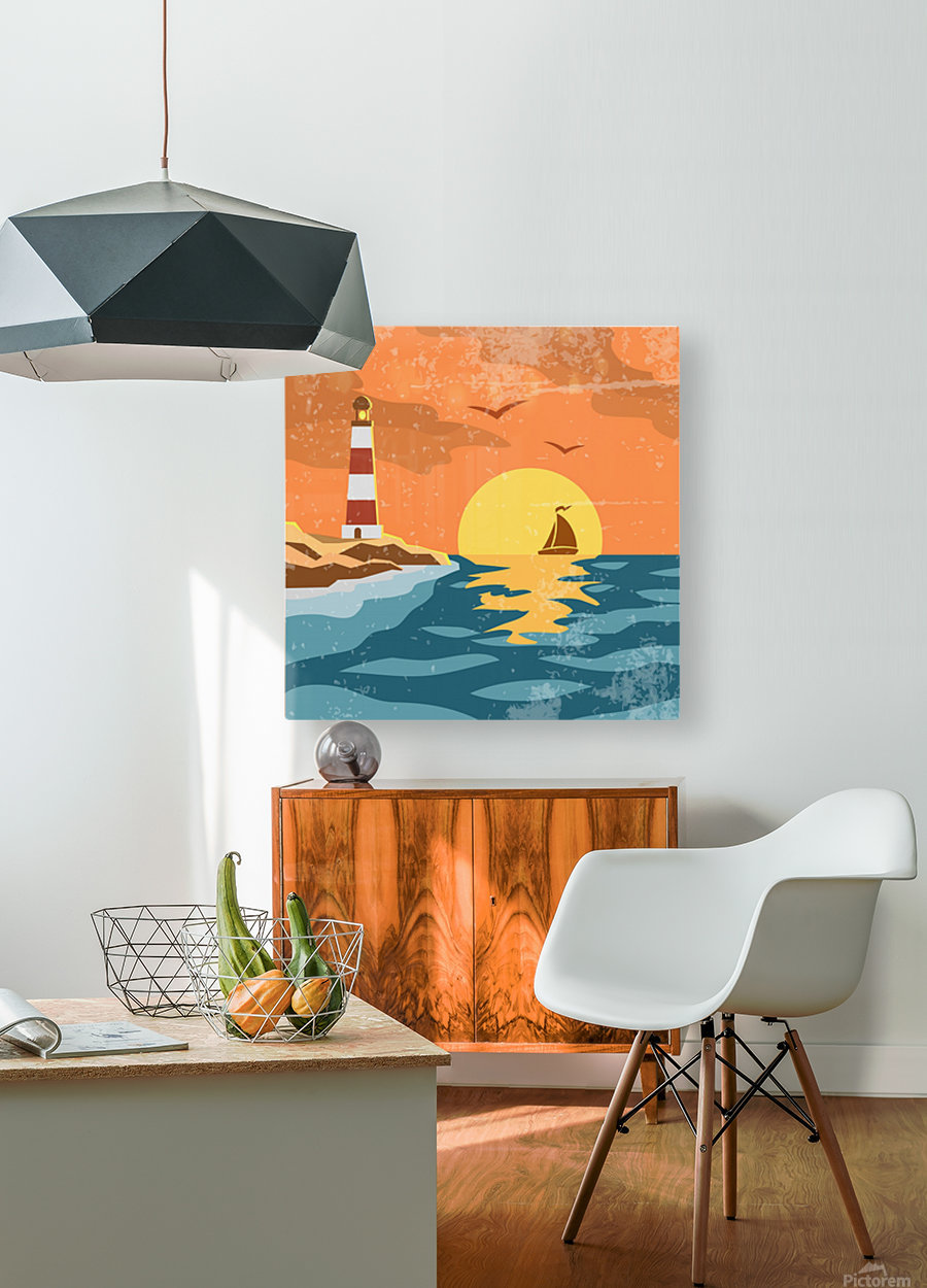 sea retro poster  HD Metal print with Floating Frame on Back