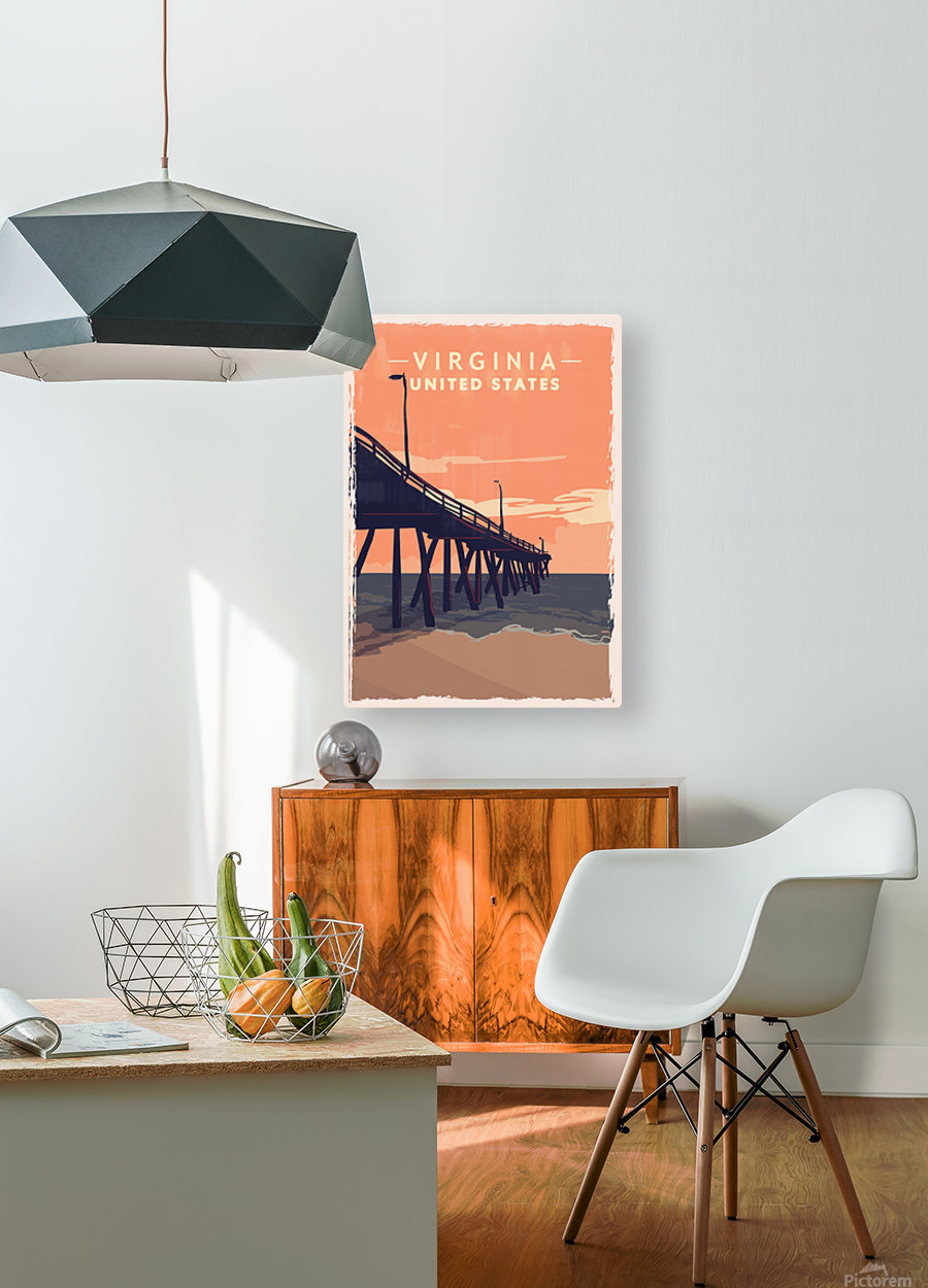 virginia retro poster usa virginia travel illustration united states america  HD Metal print with Floating Frame on Back