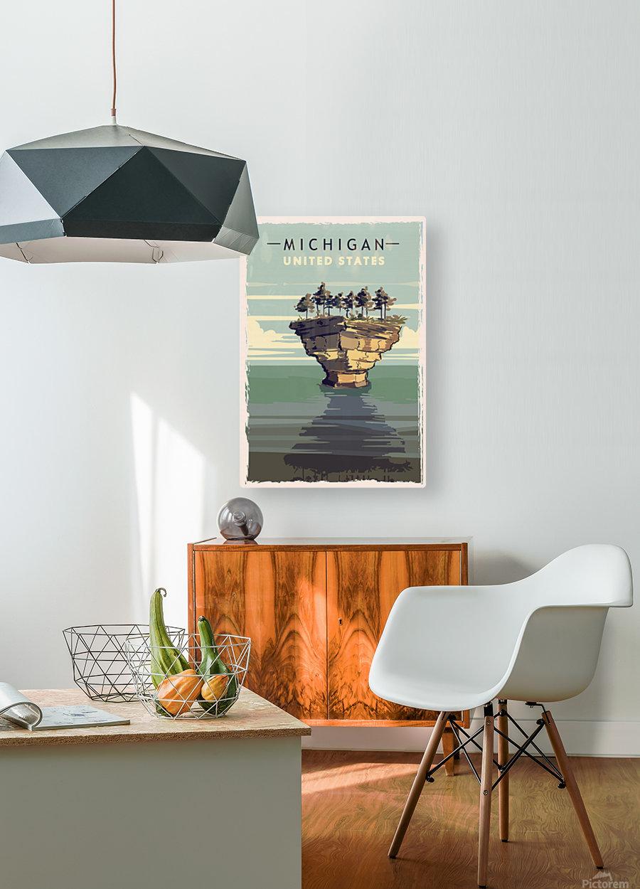 michigan retro poster usa michigan travel illustration united states america  HD Metal print with Floating Frame on Back