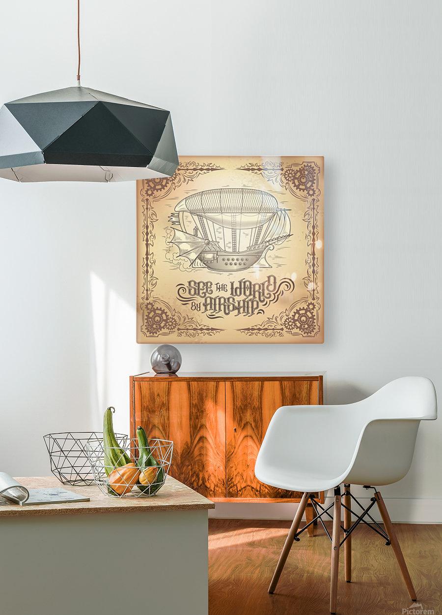 Vector steampunk poster illustration fantastic wooden flying ship  HD Metal print with Floating Frame on Back