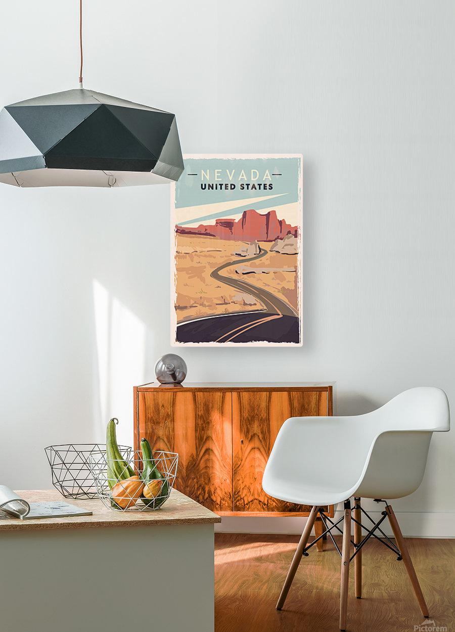 nevada retro poster usa nevada travel illustration united states america  HD Metal print with Floating Frame on Back