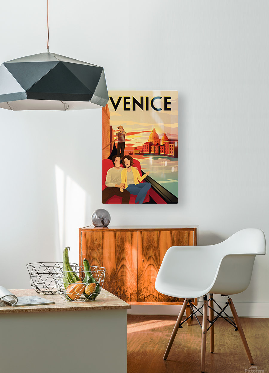 venice travel poster  HD Metal print with Floating Frame on Back