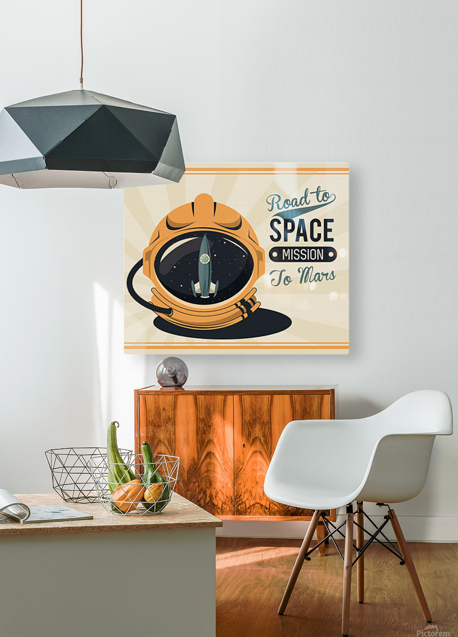 Life space vintage poster with set scenes  HD Metal print with Floating Frame on Back