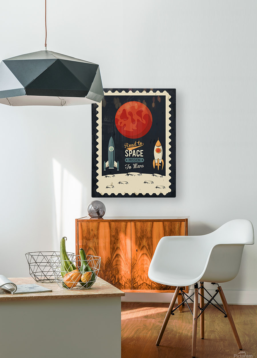 Life space poster with mars rocket rockets  HD Metal print with Floating Frame on Back