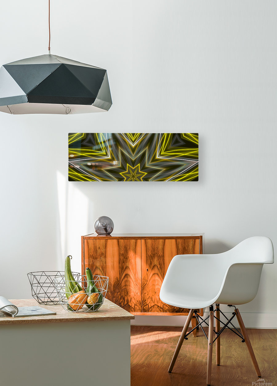 Yellow Neon Lights   HD Metal print with Floating Frame on Back