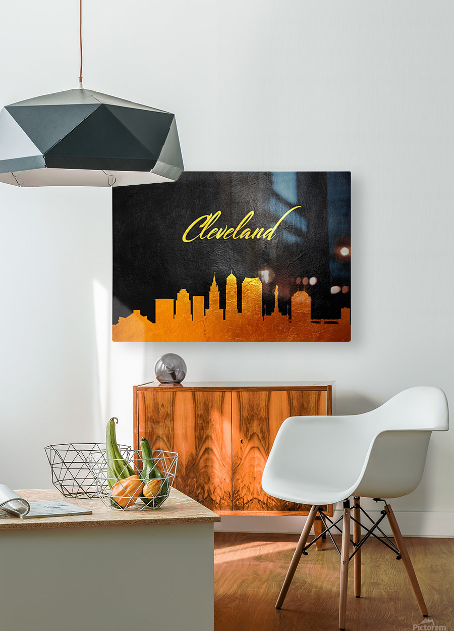 Cleveland Ohio Skyline Wall Art  HD Metal print with Floating Frame on Back