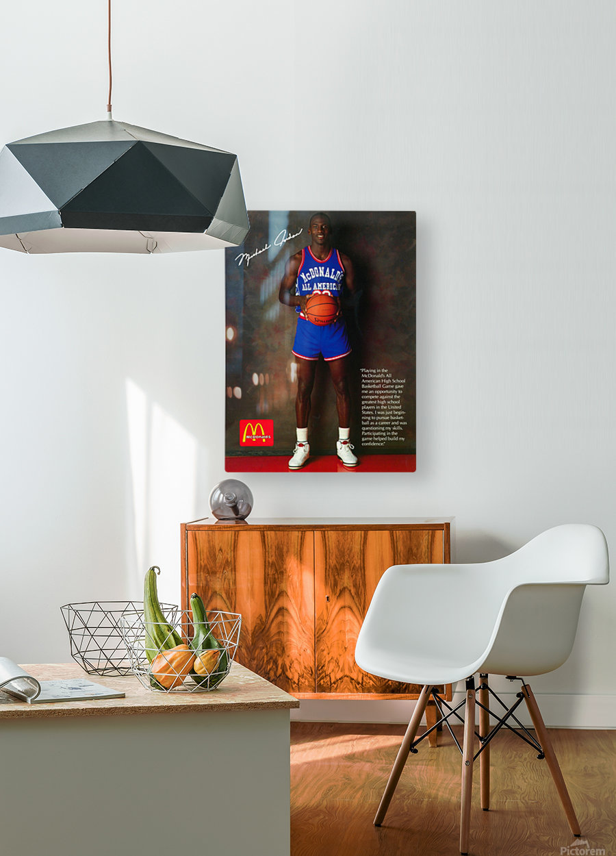 1987 McDonalds Michael Jordan Ad Poster  HD Metal print with Floating Frame on Back