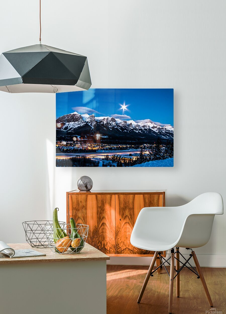 Canmore Morning Moon Over Rundle Mountain  HD Metal print with Floating Frame on Back