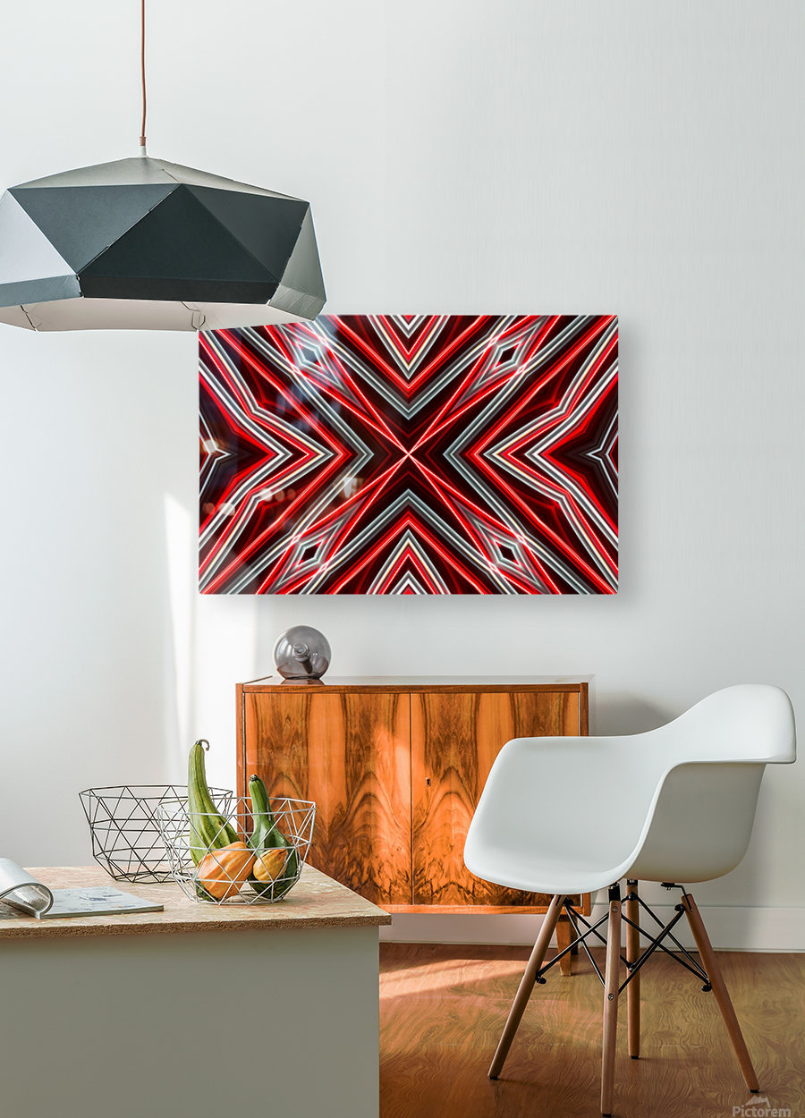 Red and Black  HD Metal print with Floating Frame on Back